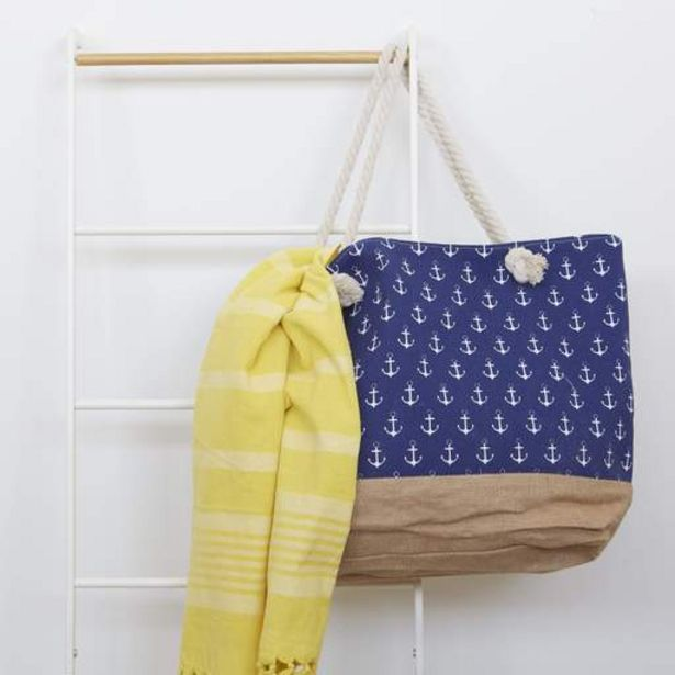 Patterned Beach Bag - blue   small anchor offers at R 199