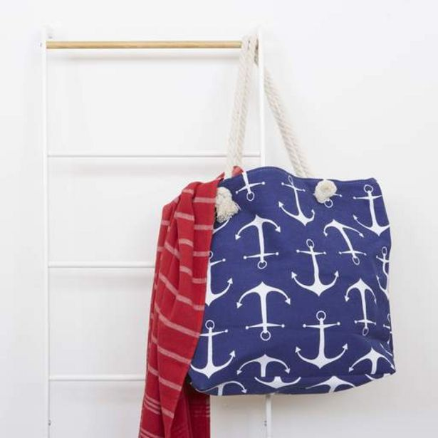 Anchor Patterned Beach Bag - blue   large anchor offers at R 199