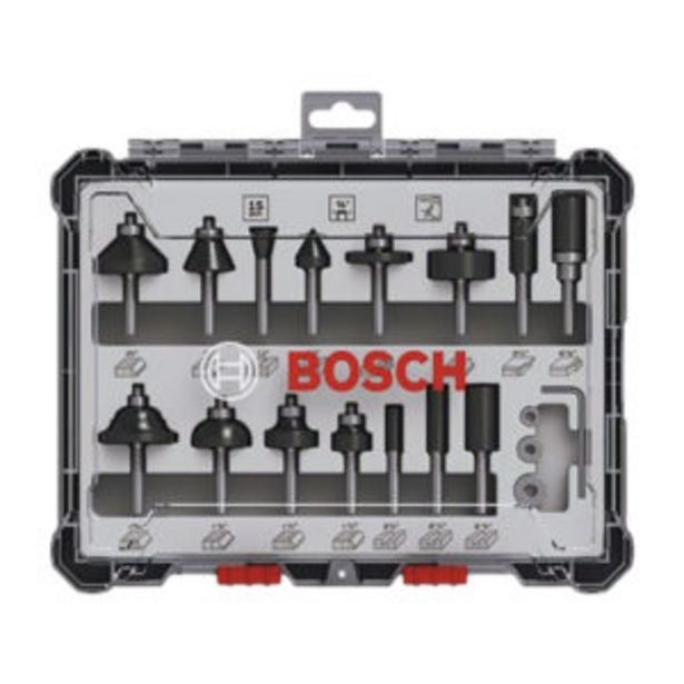 BOSCH ROUTER BIT SET 15PC 1/4″ MIXED offer at R 1099