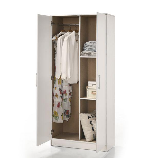 2-Door White Studio Wardrobe offer at R 1199