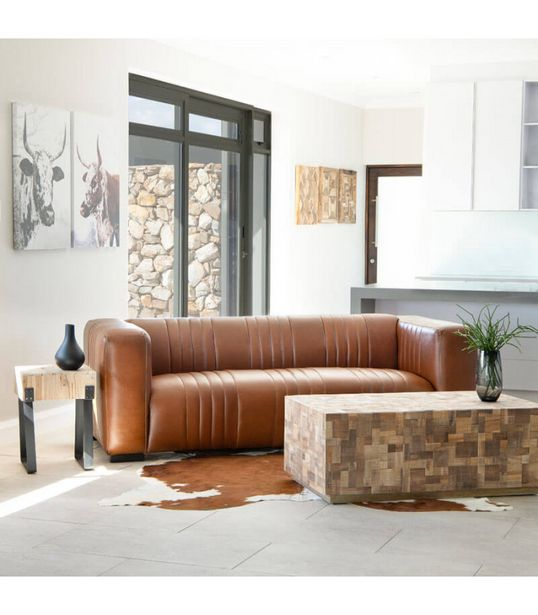 Rockefeller Leather Couch - Tan offers at R 18800