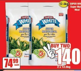 Super White Maize Meal 2 offer at R 140
