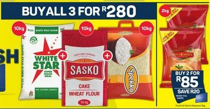 White Star Maize Meal, Sasko Cake Wheat Flour, Spekko Rice  offer at R 280