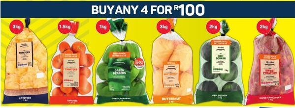 Potatoes, Tomatoes, Peppers, Butternut, Peppers, Sweet Potatoes offer at R 100