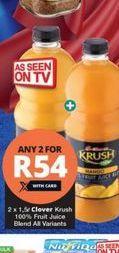 Clover Krush 100% Fruit Juice 2 offer at R 54