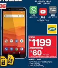 Nokia C1 Smartphone offer at R 1199