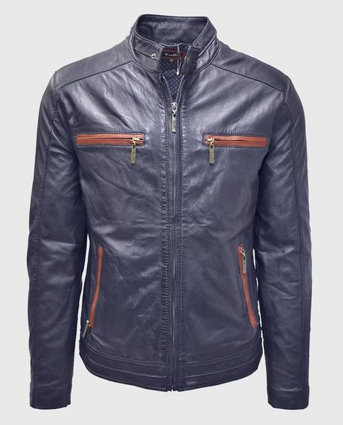 Enzo Leather Jacket (Navy) offers at R 3989,5