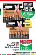 Batteries Duracell offer at R 109,95
