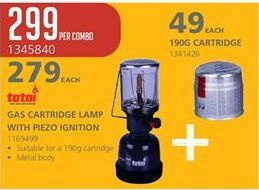 Gas cartridge offer at R 279