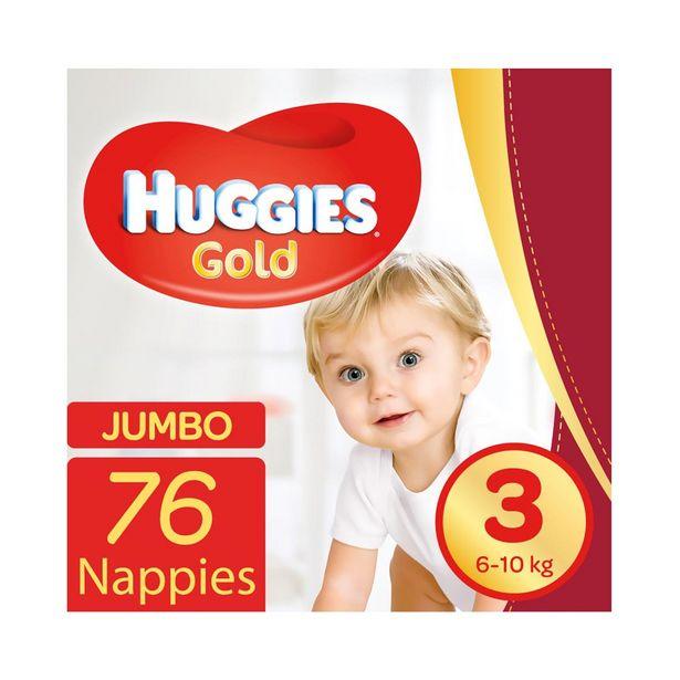Huggies Gold Jumbo No.3 (6 - 10 kg) Nappies 76 pk offers at R 249,99