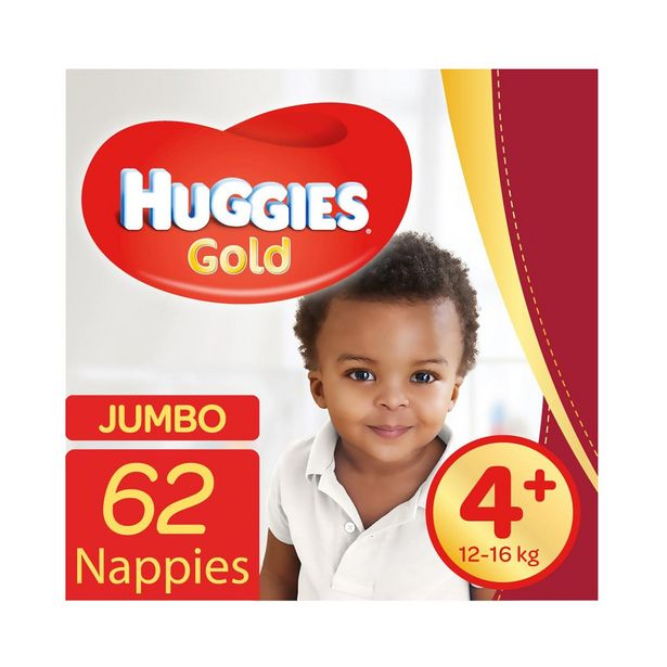 Huggies® Gold Jumbo No.4+ (12-16kg) Nappies 62Pk offer at R 209,99