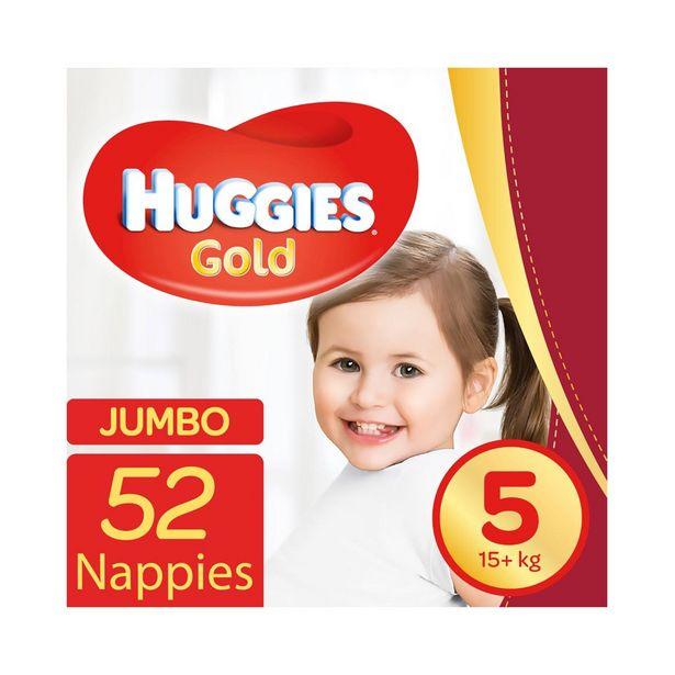 Huggies Gold Jumbo No.5 (15+kg) Nappies 52 Pk offer at R 209,99