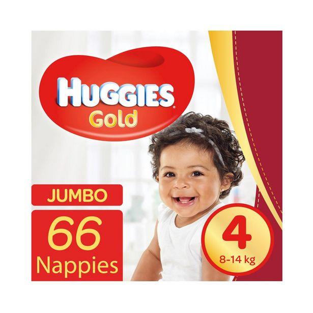 Huggies Gold Jumbo No.4 (8 - 14 kg) Nappies 66 pk offers at R 249,99
