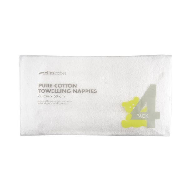 Pure Cotton Towelling Nappies 4 Pack offers at R 219