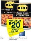 KOO Baked Beans in Tomato Sauce 2  offer at R 20