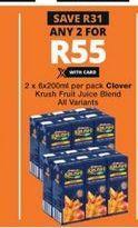 Clover Krush 100% Fruit Juice 2 offer at R 55