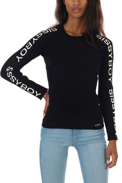 Basic Crew Neck Knit With Logo Along Long Sleeves offers at R 500