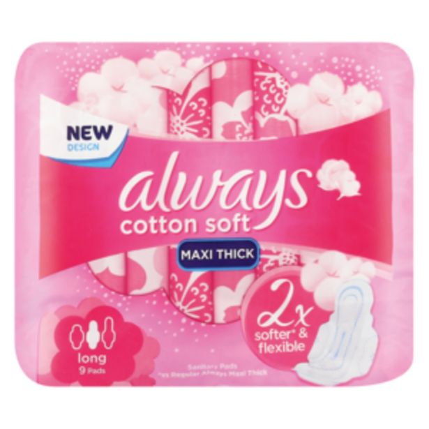 Always Cotton Soft Long Sanitary Pads 9 Pack offers at R 23,99