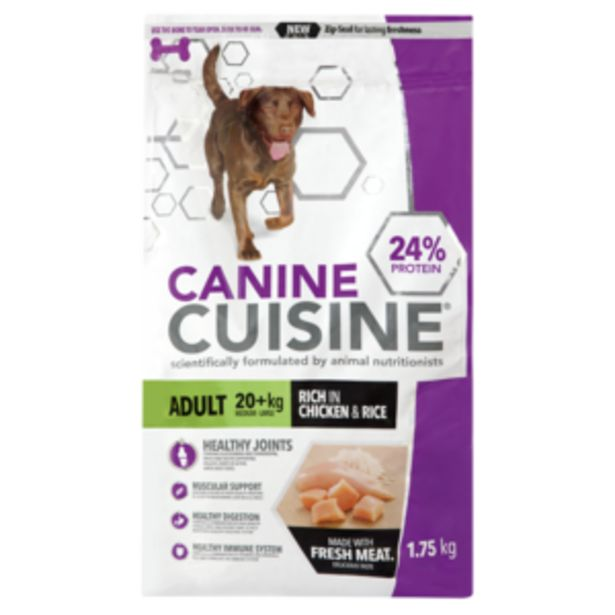 Canine Cuisine Rich In Chicken & Rice Flavoured Adult Dog Food 1.75kg offers at R 79,99