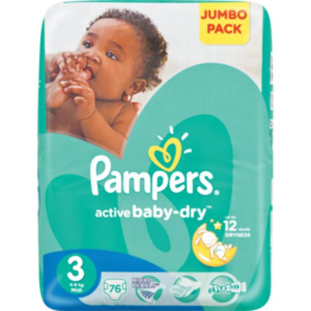 Pampers Active Midi Baby-Dry Nappies 76 Pack offers at R 259,99