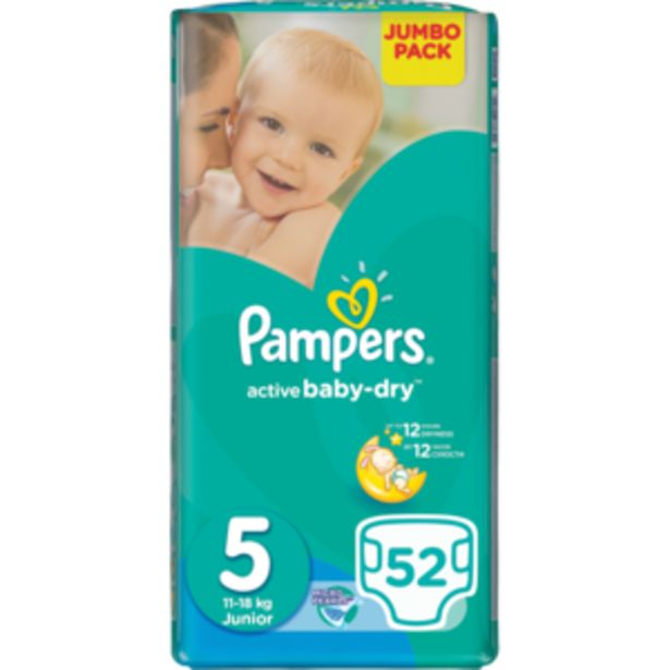 Pampers Active Junior Baby-Dry Nappies 52 Pack offers at R 259,99