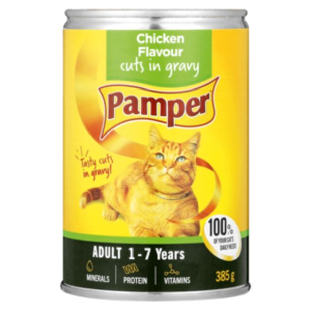 Pamper Chicken Flavoured Cut In Gravy Can 385g offers at R 17,99