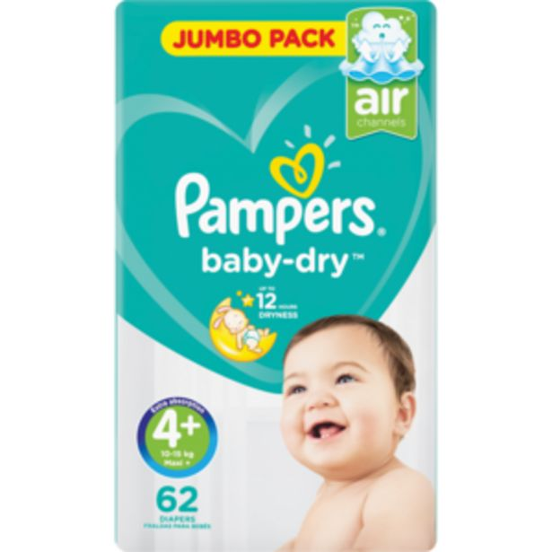 Pampers Maxi+ Baby-Dry Nappies 62 Pack offers at R 259,99