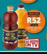Clover Krush 100% Fruit Juice offer at R 52