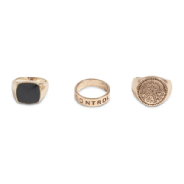 Men's Gold 3 Pack Signet Rings offers at R 79,99