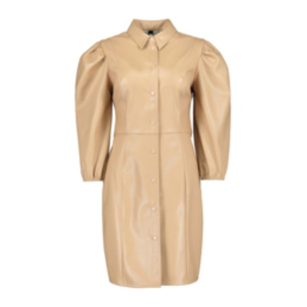 Women's Stone Faux Leather Dress with Puff Sleeves offers at R 349,99