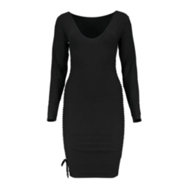 Women's Black Seamless Ruched Bodycon Dress offers at R 279,99