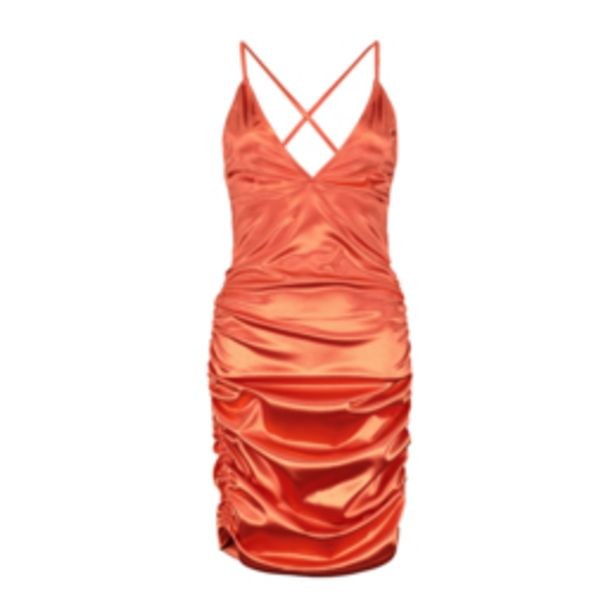 Women's Coral Satin Ruched Dress offers at R 229,99