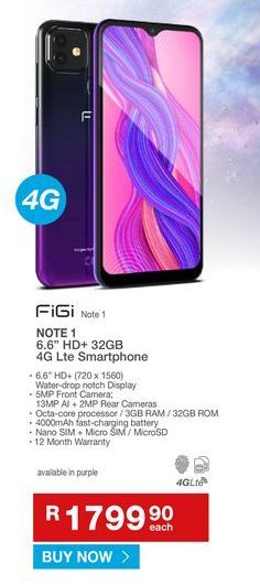 Smartphones FIGI offers at R 1799,9