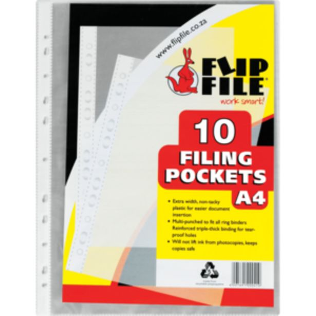 Flip File A4 Pocket Filing Sleeves 10 Pack offers at R 11,99