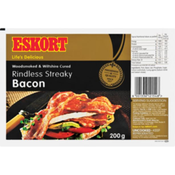 Eskort Streaky Rindless Bacon 200g offers at R 39,99