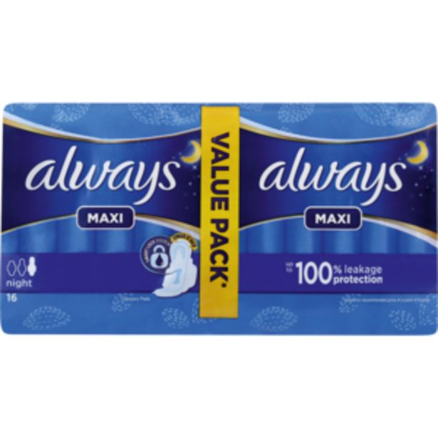 Always Maxi Night Sanitary Pads 16 Pack offers at R 44,99