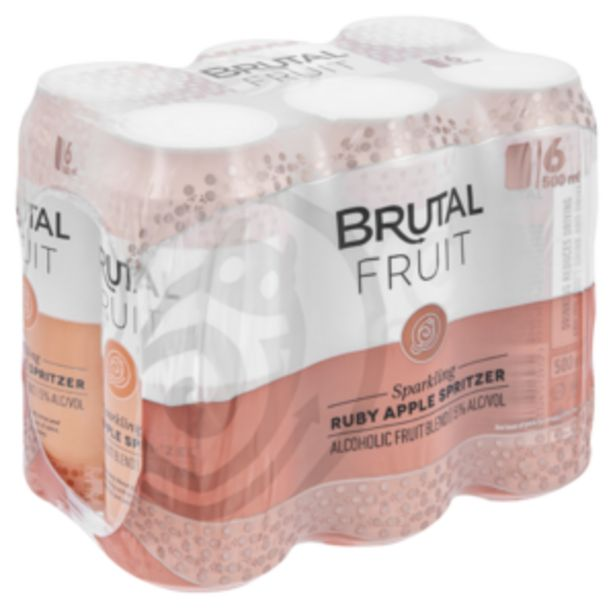 Brutal Fruit Ruby Apple Flavoured Spritzer Cans 6 x 500ml offers at R 99,99