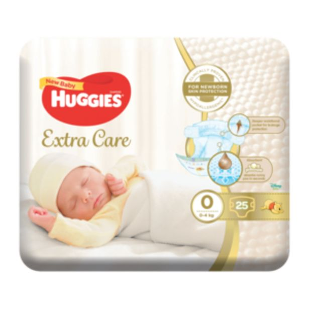 Huggies Extra Care Diapers Size 0 for 0-4KG 25 Pack offers at R 69,99