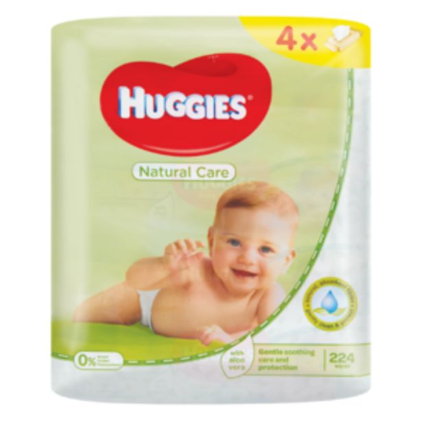Huggies Natural Care Baby Wipes 4 x 56 Pack offers at R 109,99
