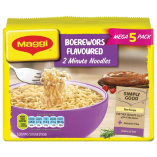 Maggi Boerewors Flavoured 2 Minute Noodles 5 x 73g offers at R 27,99