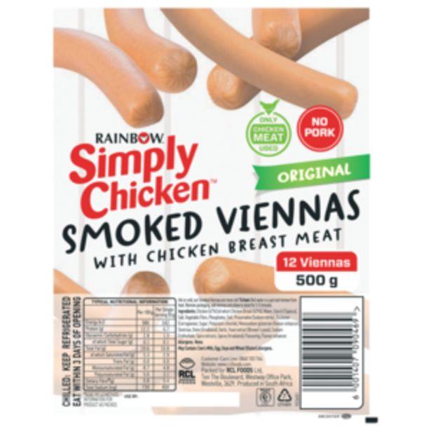 Rainbow Simply Chicken Original Smoked Viennas 500g offers at R 49,99