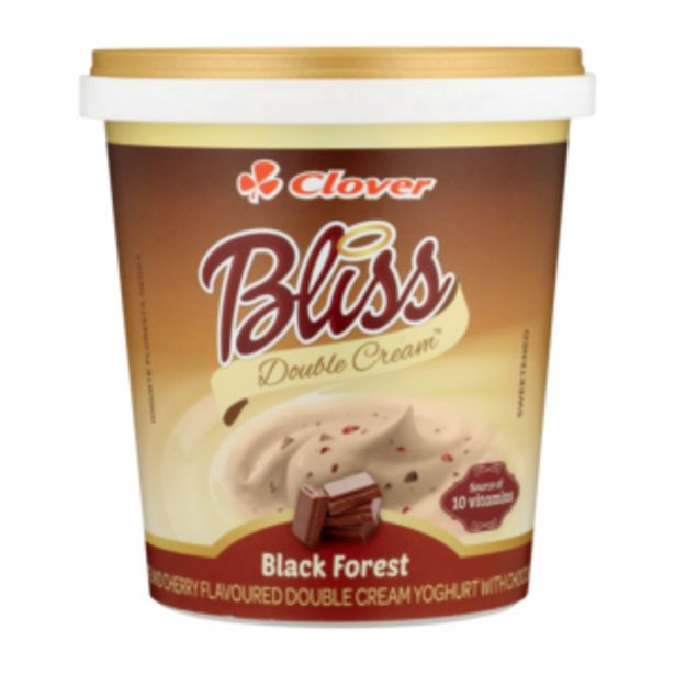 Clover Bliss Double Cream Black Forest Yoghurt Based Dairy Snack 1kg offers at R 36,99