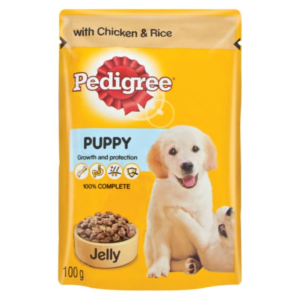 Pedigree Chicken & Rice Wet Puppy Food In Jelly 100g offers at R 10,99