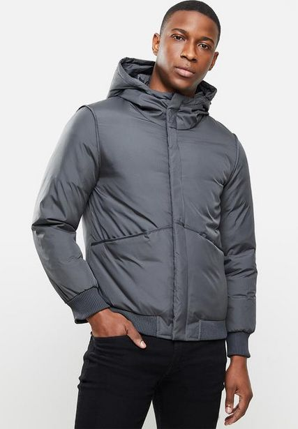 Hooded puffer jacket - dark grey offers at R 500