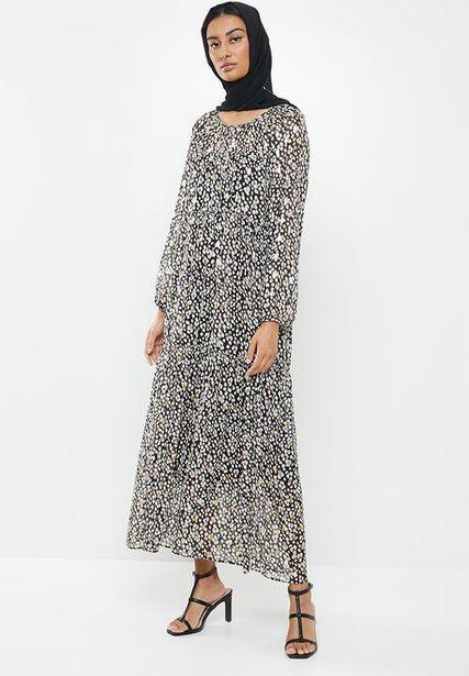 Chiffon tiered dress maxi & headscarf - black & white  offers at R 440