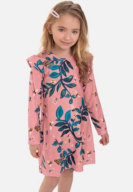 Girls long sleeve floral dress - pink & green offers at R 215