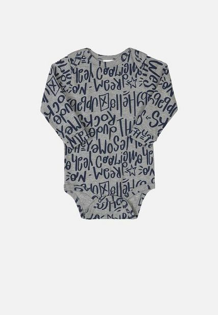 Baby boys printed long sleeve bodysuit - grey & navy offers at R 96