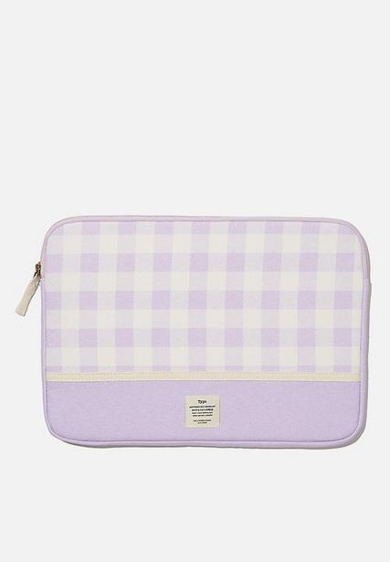 Canvas 13 inch laptop case - gingham pale lilac offers at R 179