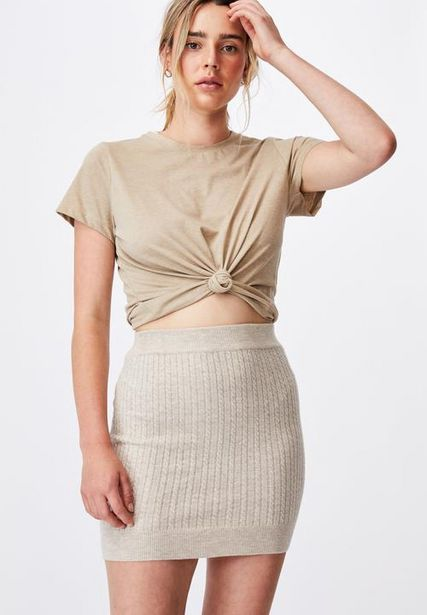 Ultimate knit cable mini skirt - taupe offers at R 209