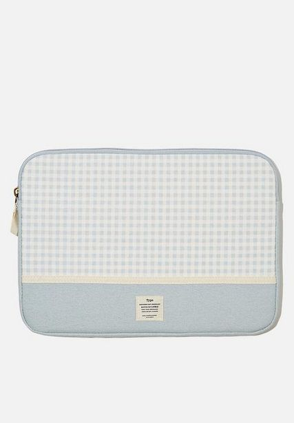 Canvas 13 inch laptop case - gingham hyacinth offers at R 179
